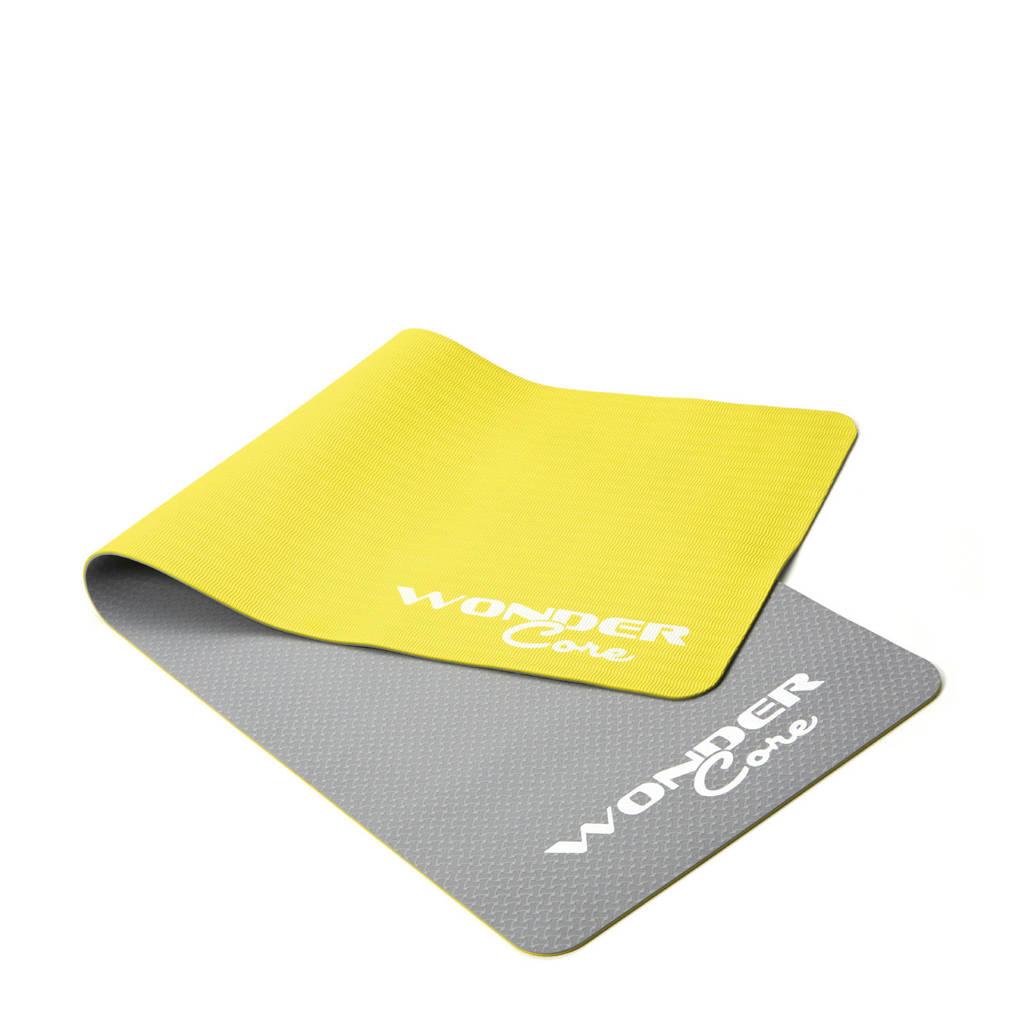Wonder Core  Fitnessmat -Yogamat TPE - 0,6 cm - Gray/Green, Grijs/groen