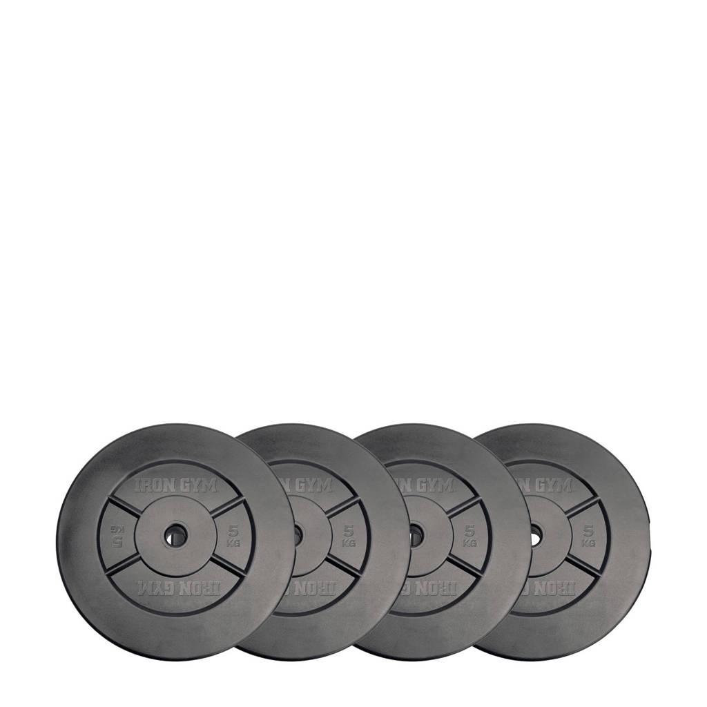 Iron Gym gewichten 20kg Plate Set - 5kg x 4, Grijs