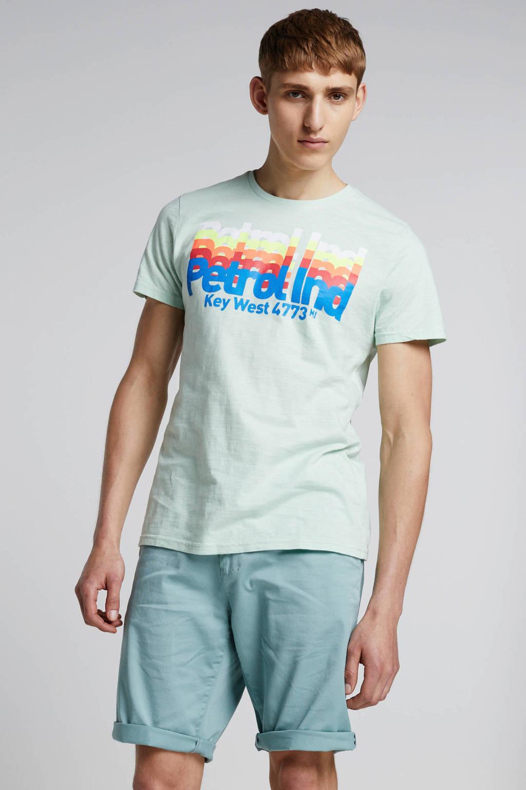 Petrol Industries T-shirt met tekstopdruk, Mint