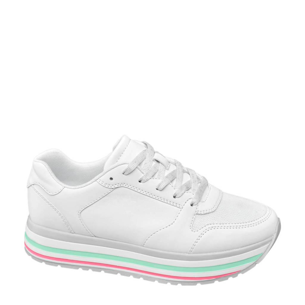 vanHaren Graceland  plateau sneakers wit, Wit