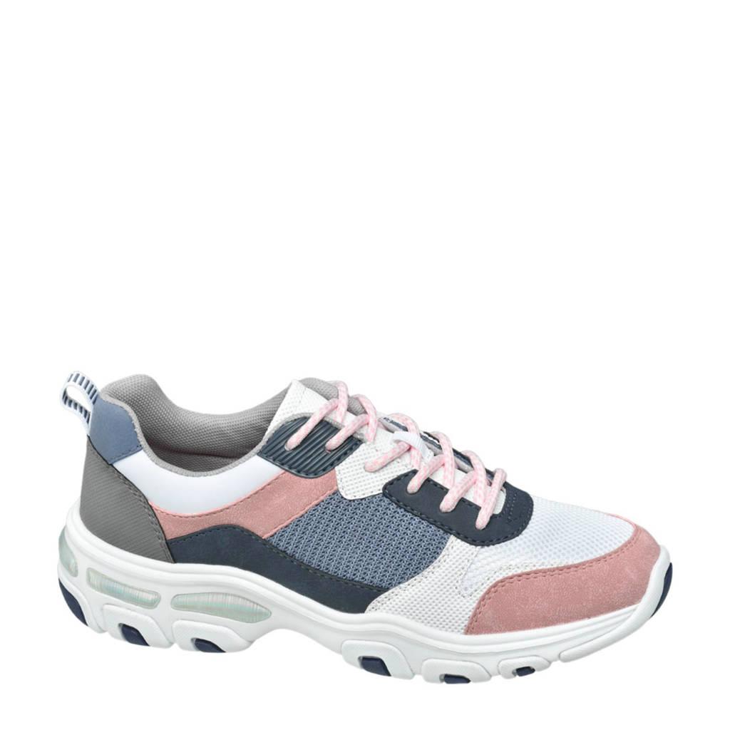 vanHaren Graceland  dad sneakers roze/blauw, Wit/blauw/roze