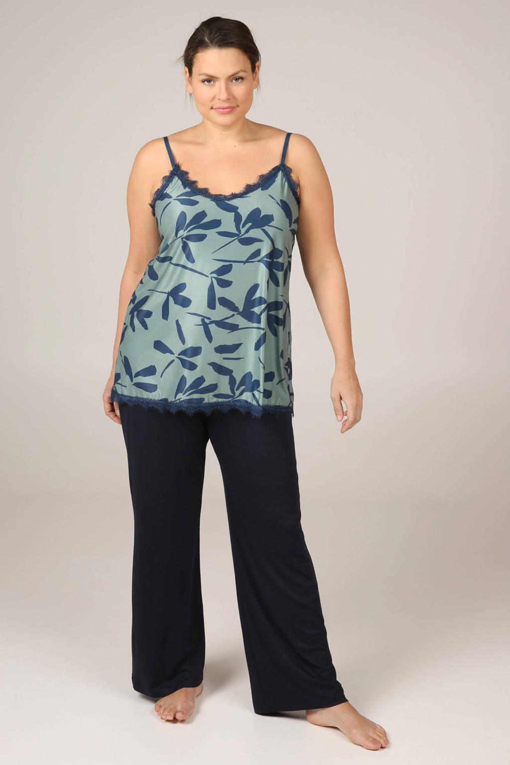 Paprika pyjamatop in all over print met satijn look blauw, Blauw