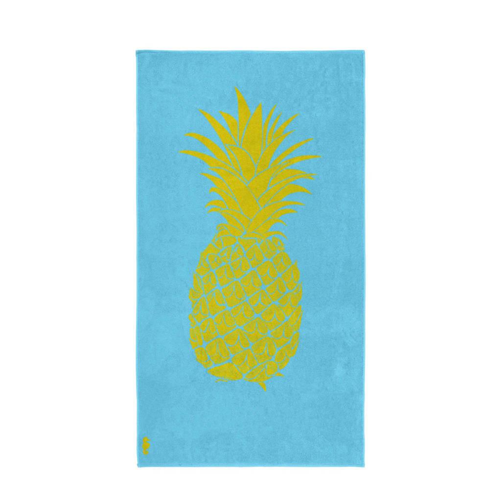 Seahorse strandlaken (100x180 cm), Blauw/geel