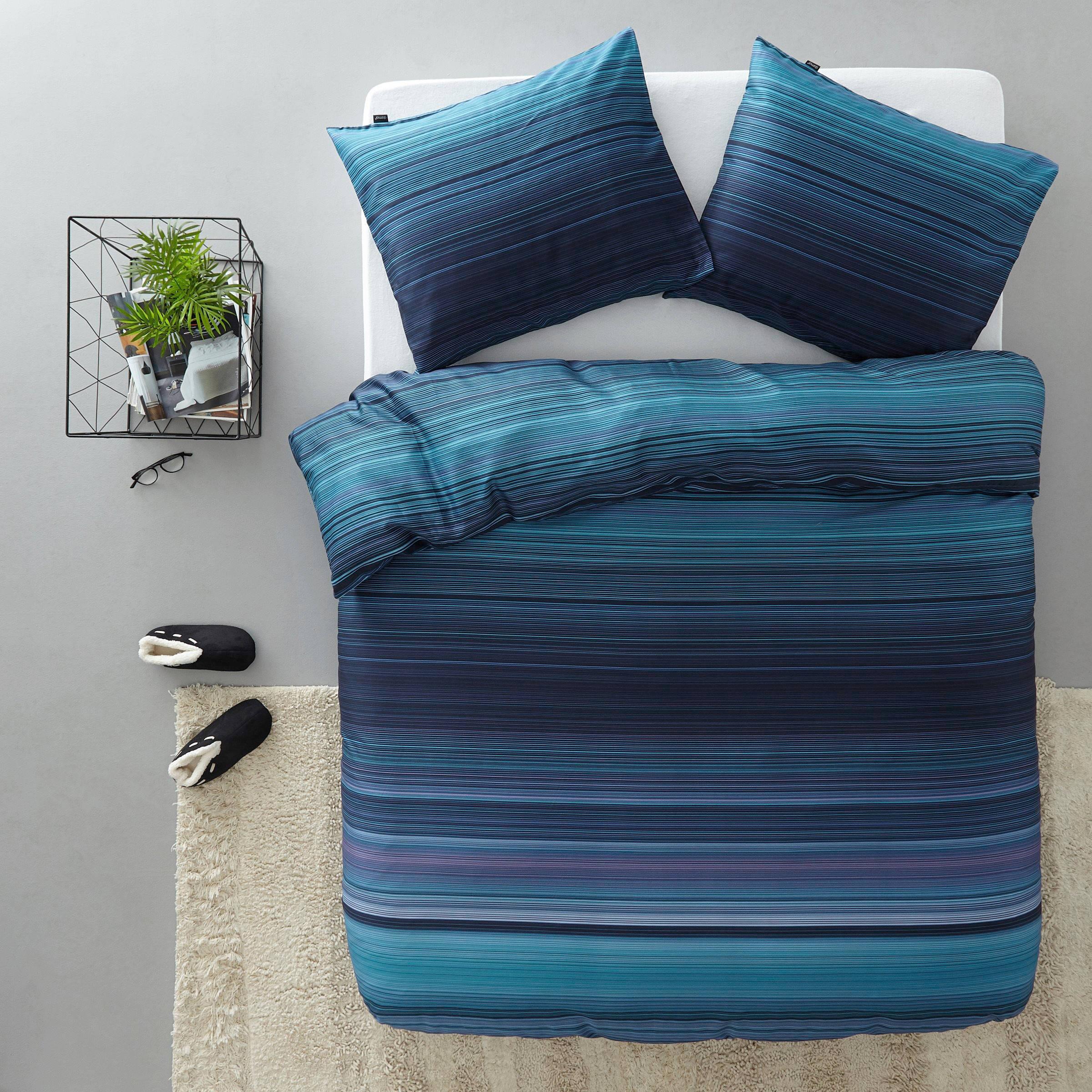 damai satijnen dekbedovertrek lits jumeaux blauw