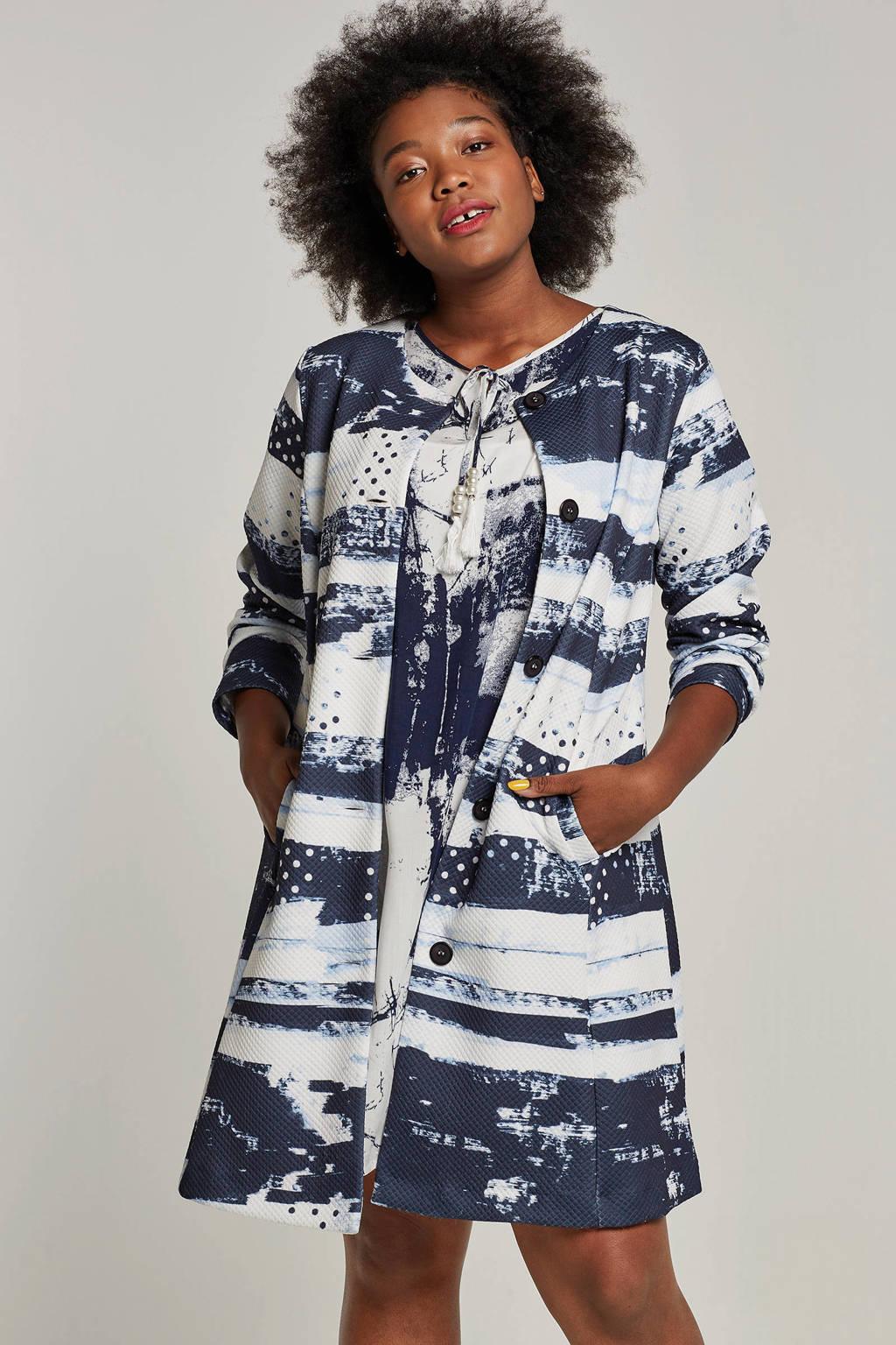 Twister jas met all-over print, Blauw/wit