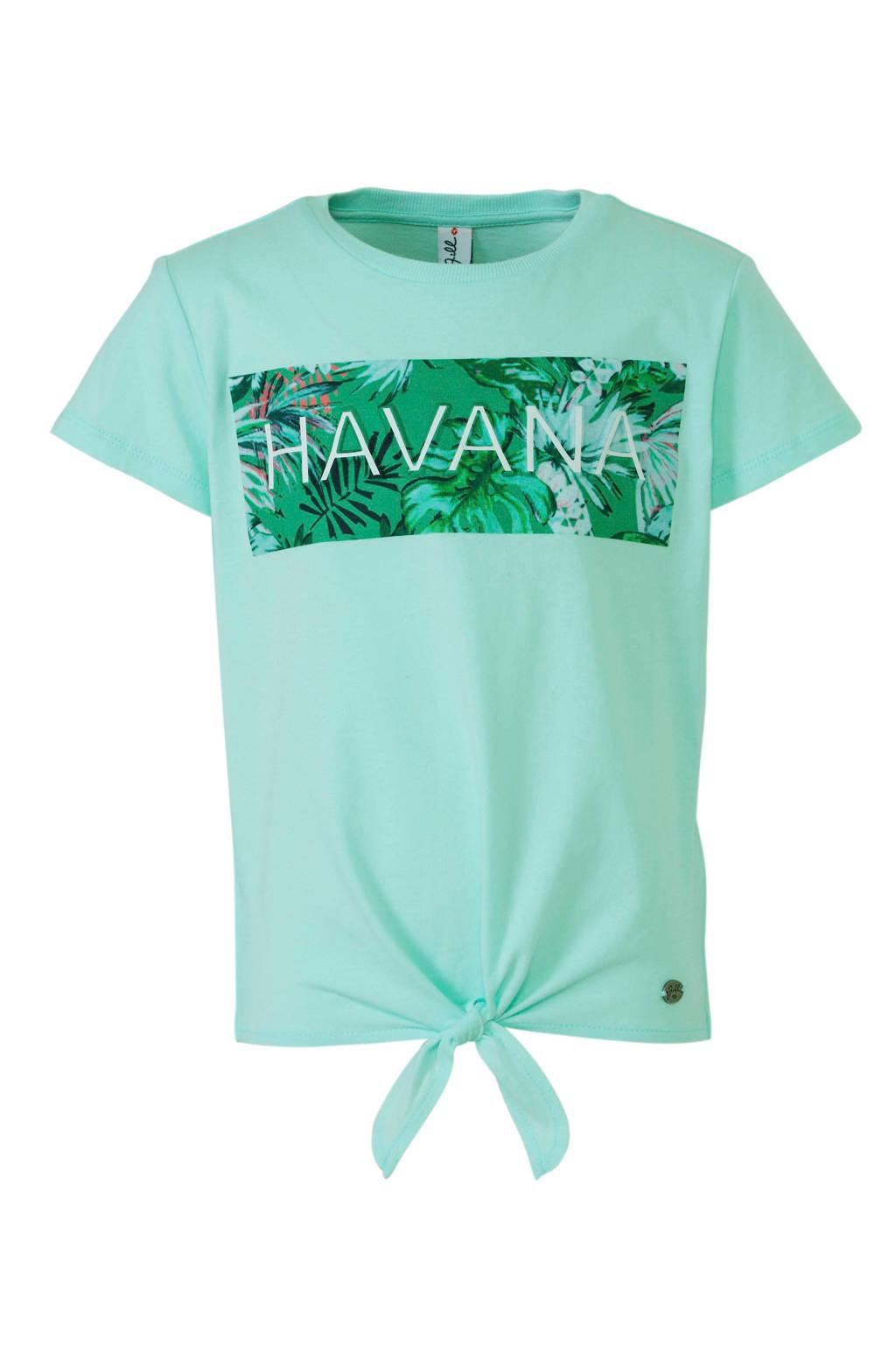 Jill T-shirt Sharon met strikdetail lichtgroen, Lichtgroen