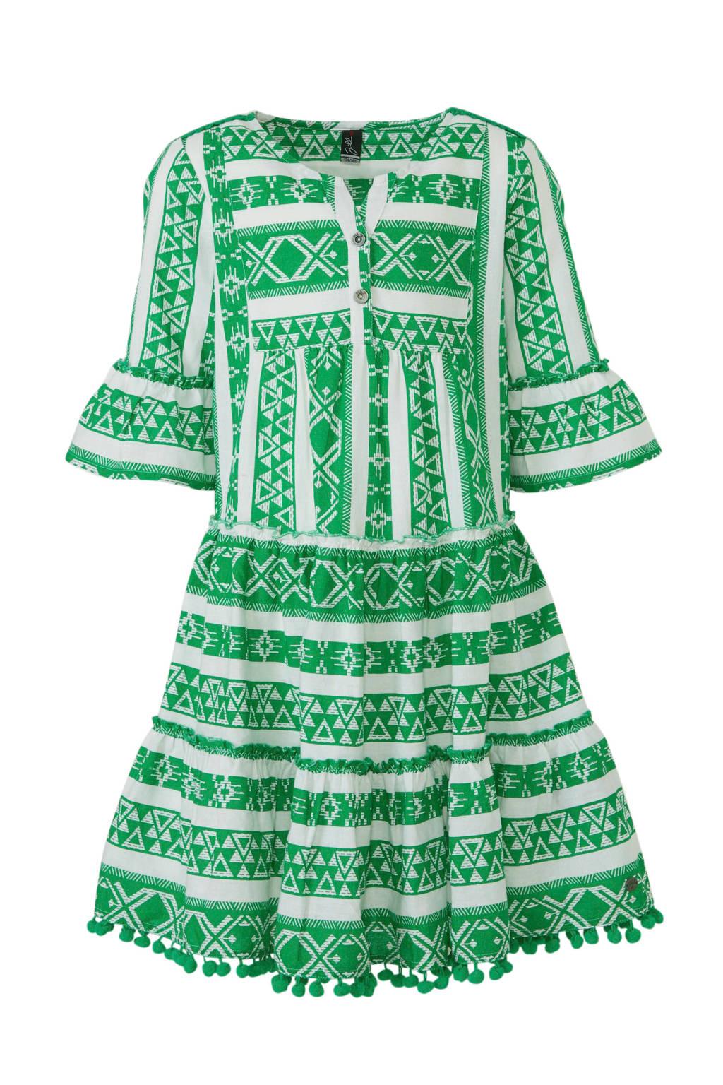 Jill geweven jurk Fabby groen, Groen/ wit