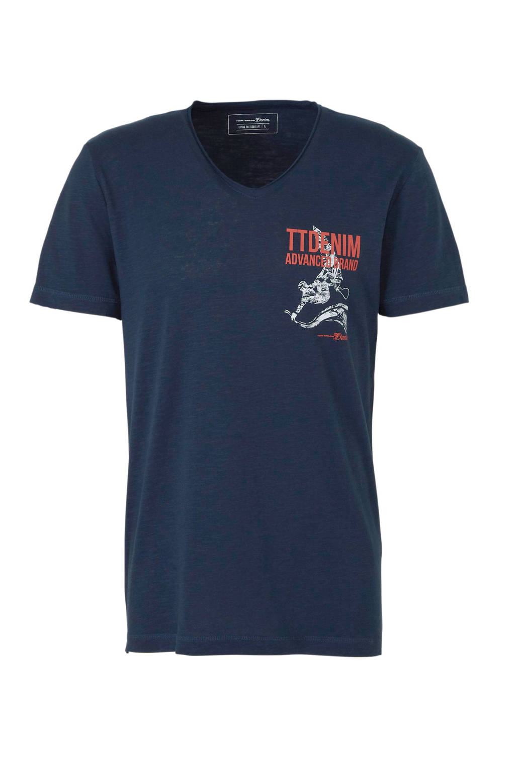Tom Tailor Denim T-shirt met printopdruk, Donkerblauw