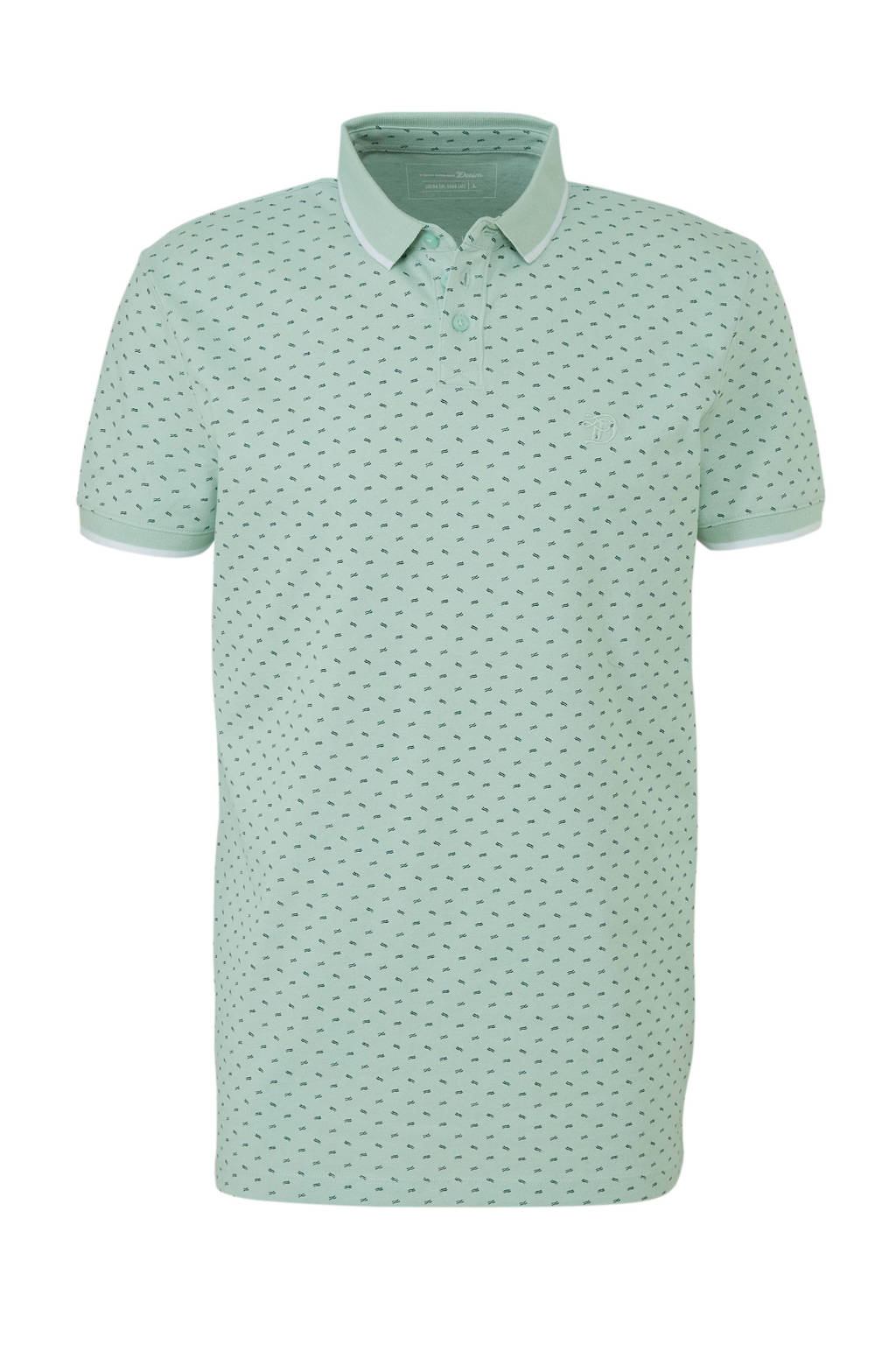 Tom Tailor Denim polo met all over print, Lichtgroen