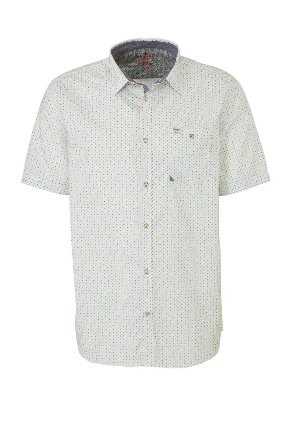 Tom Tailor regular fit overhemd met all over print wit/rood/blauw, Wit/rood/blauw
