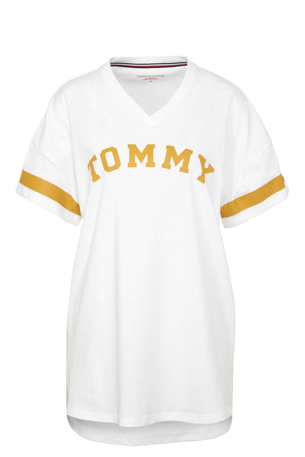 Tommy Hilfiger nachthemd met V-hals wit, Wit/okergeel