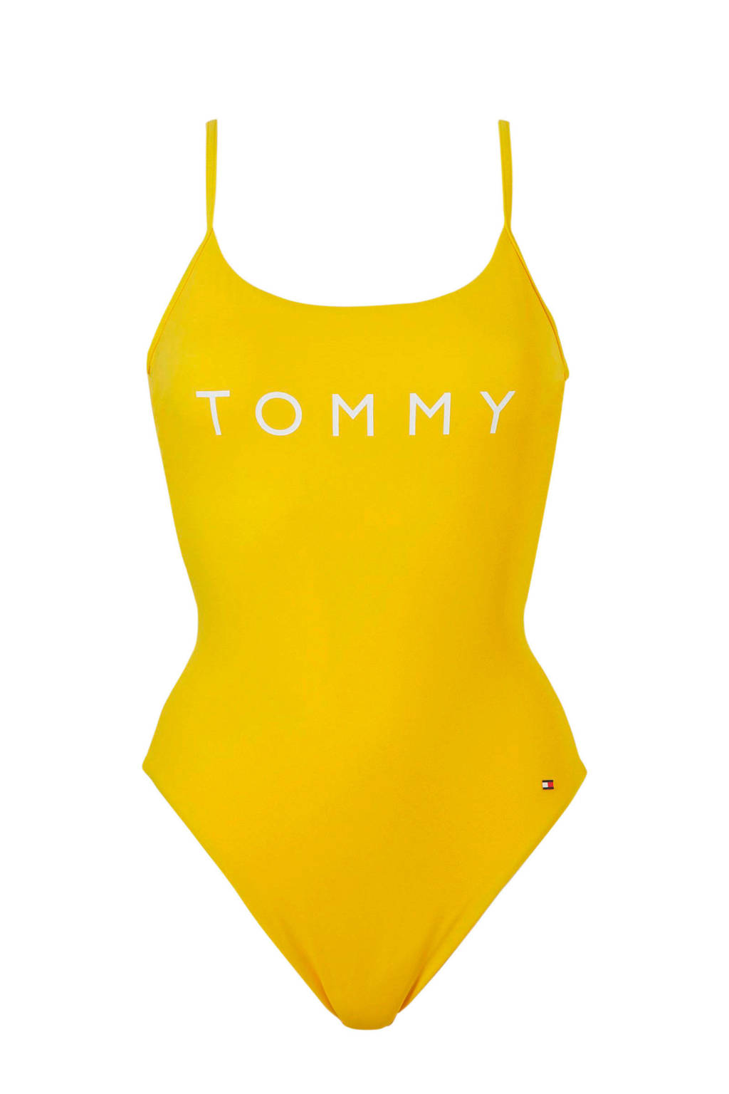 Tommy Hilfiger badpak gevoerd geel, Geel /wit