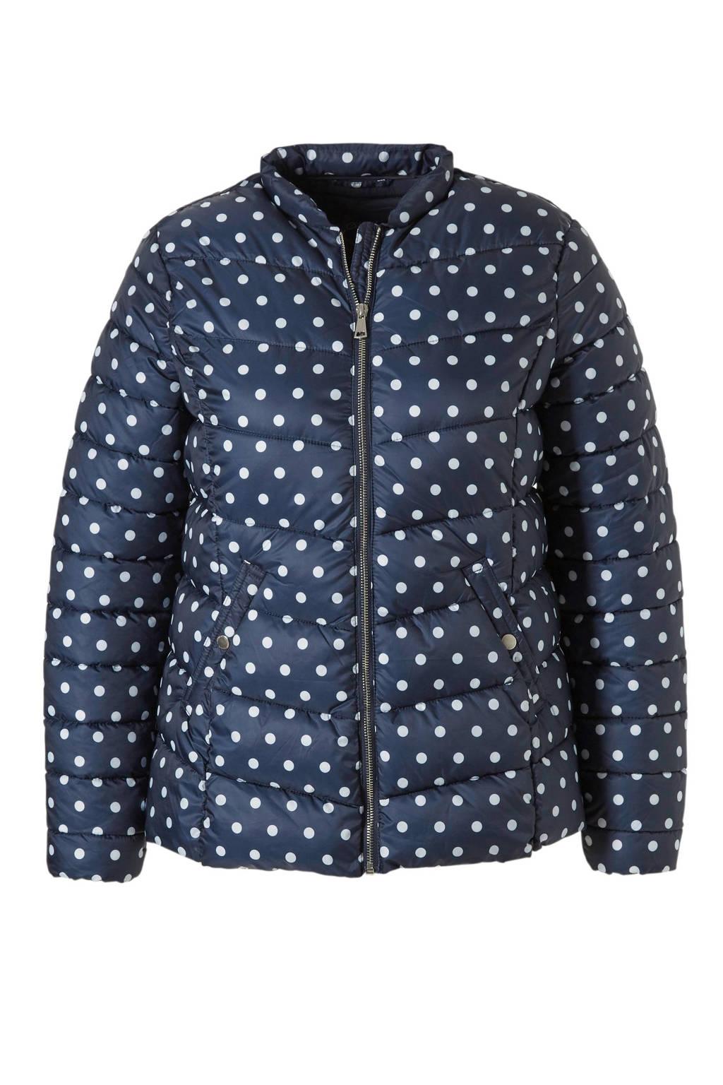 C&A XL Clockhouse gewatteerde jas met stippen, Donkerblauw