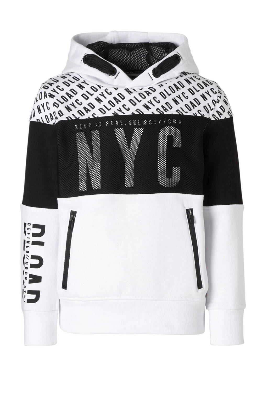 C&A Here & There hoodie met mesh wit, Wit/zwart