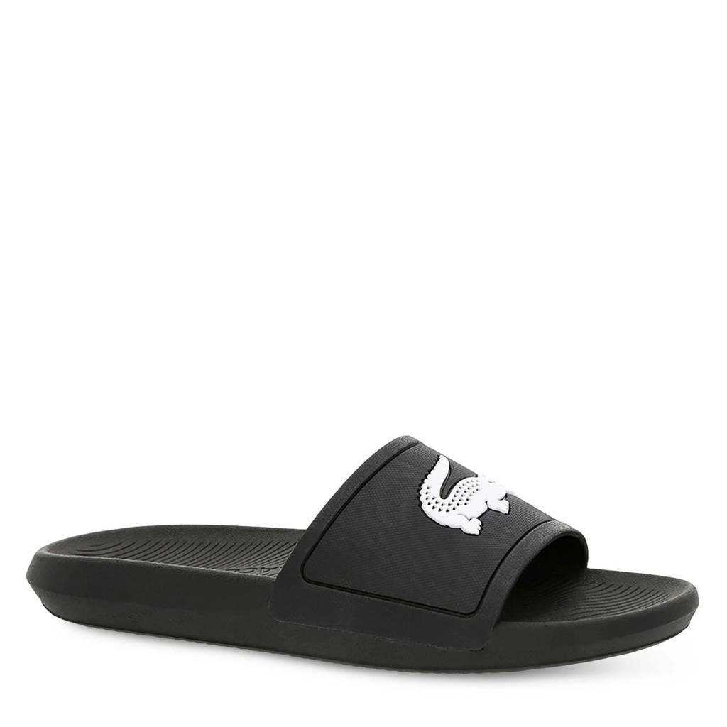 Lacoste  Croco Slide 119 badslippers zwart/wit, Zwart/wit