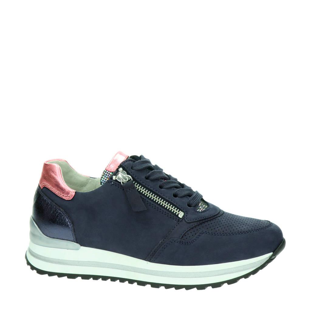 Gabor   suède sneakers donkerblauw, Blauw/roze