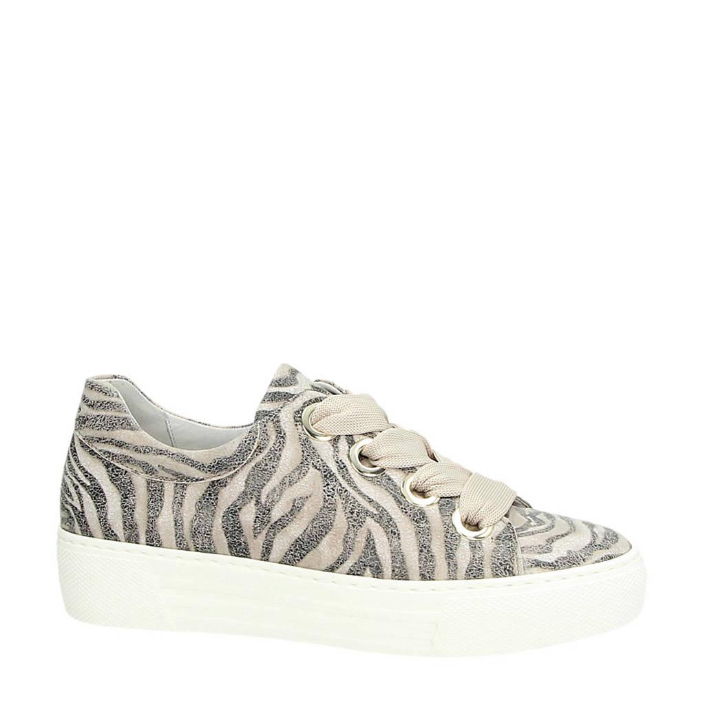 Gabor  suède sneakers zebraprint, Taupe