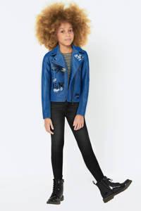 CoolCat imitatieleren zomerjas met tekst blauw, Blauw