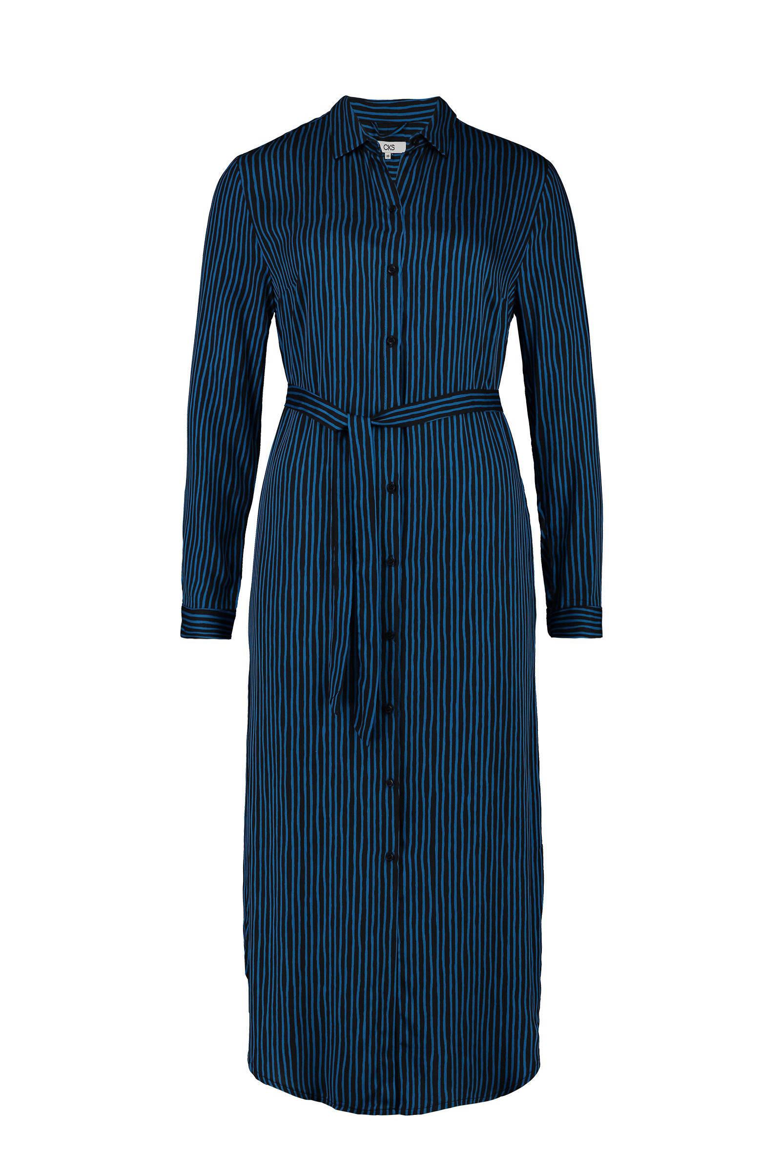 blauwe blouse jurk