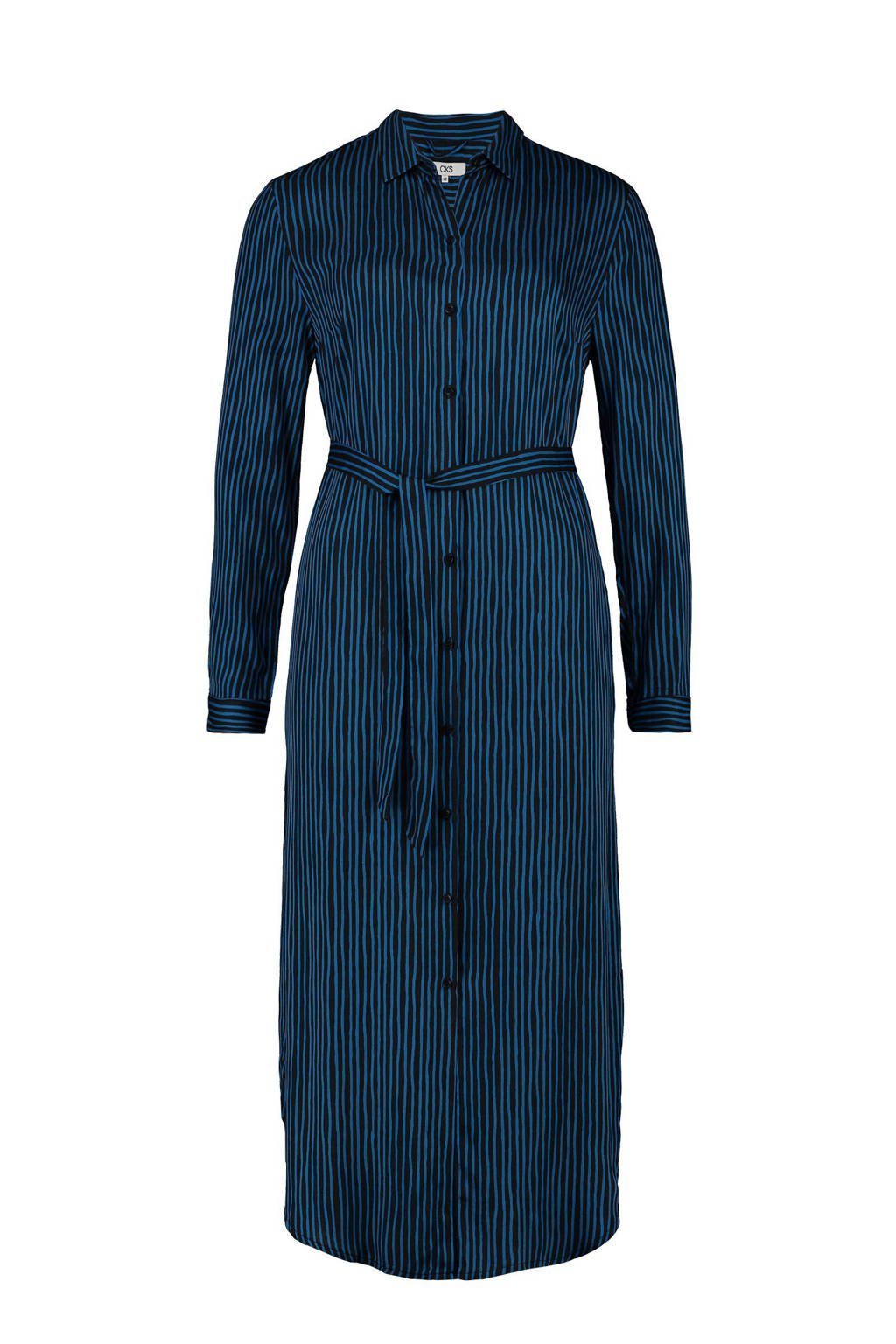 CKS Ela gestreepte blousejurk antraciet/blauw, Antraciet/blauw
