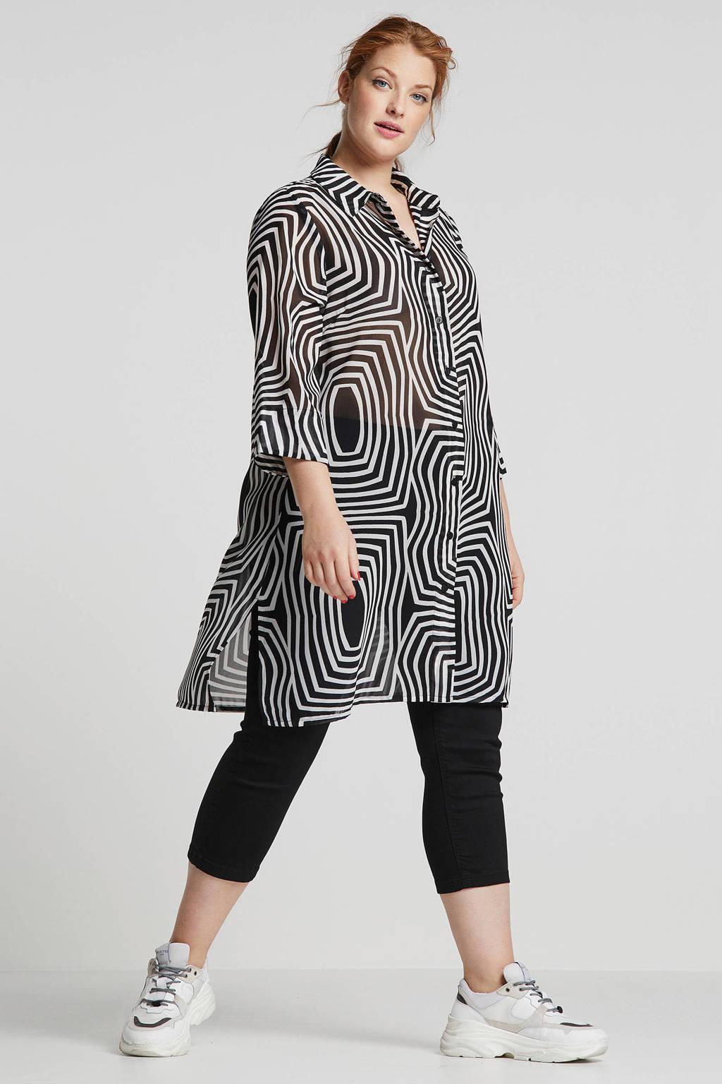 Zhenzi high waist skinny capri zwart, Zwart