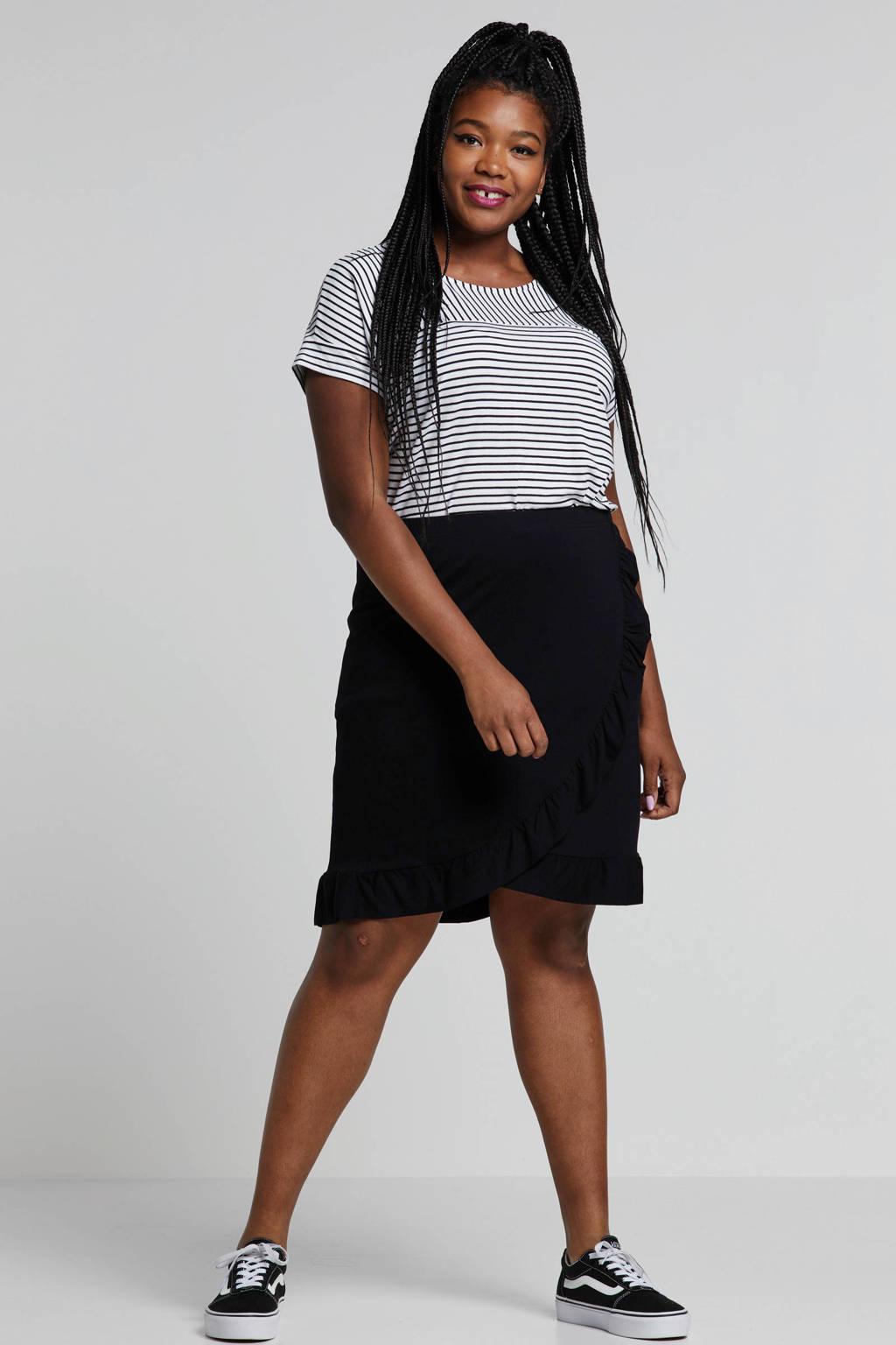Zhenzi rok met volantdetails zwart, Zwart