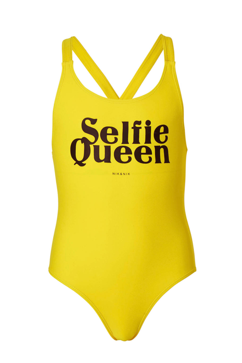 NIK&NIK badpak Yvonne met printopdruk geel, Geel/zwart