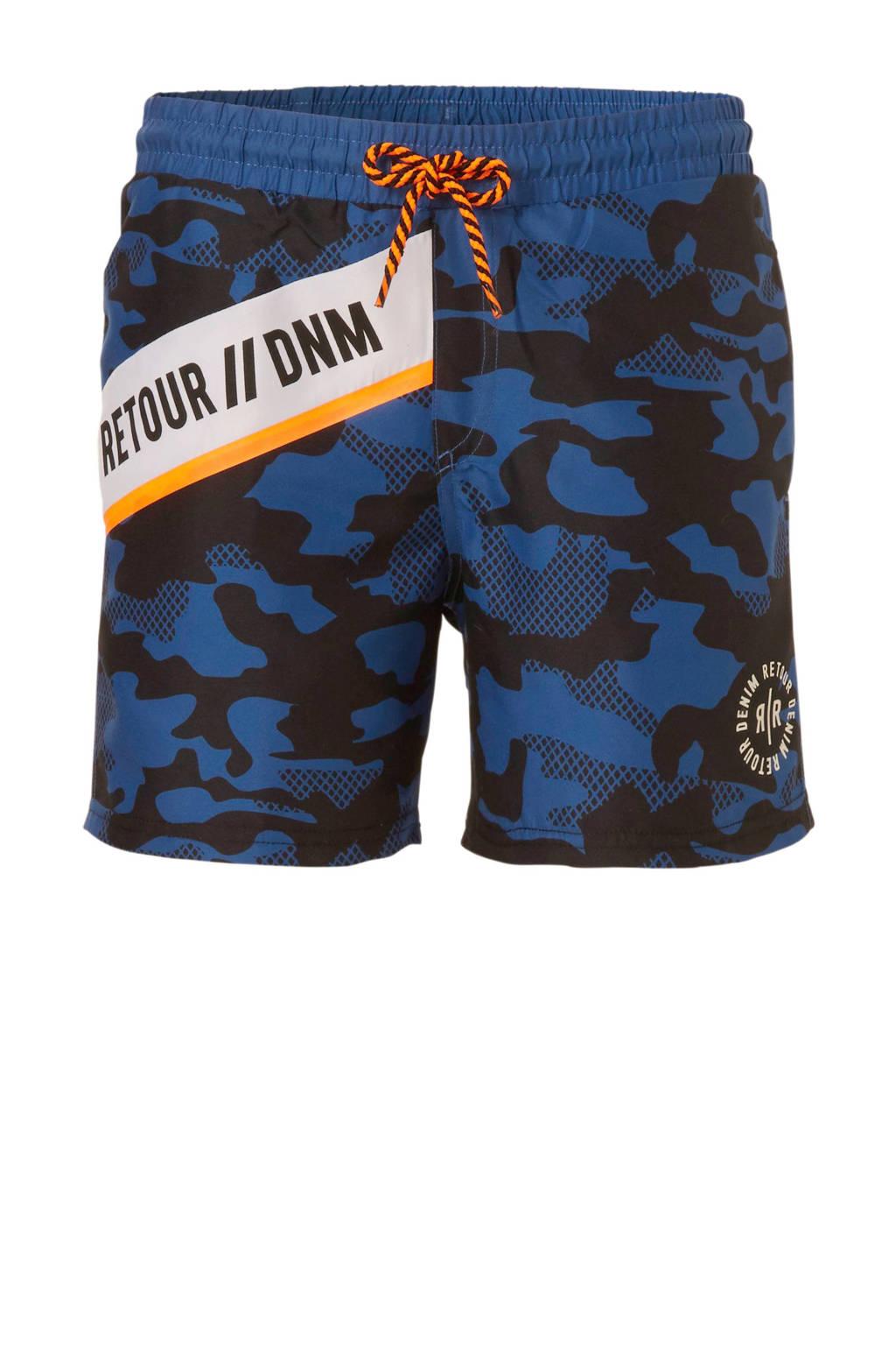 Retour Denim zwemshort met camouflage print blauw, Blauw