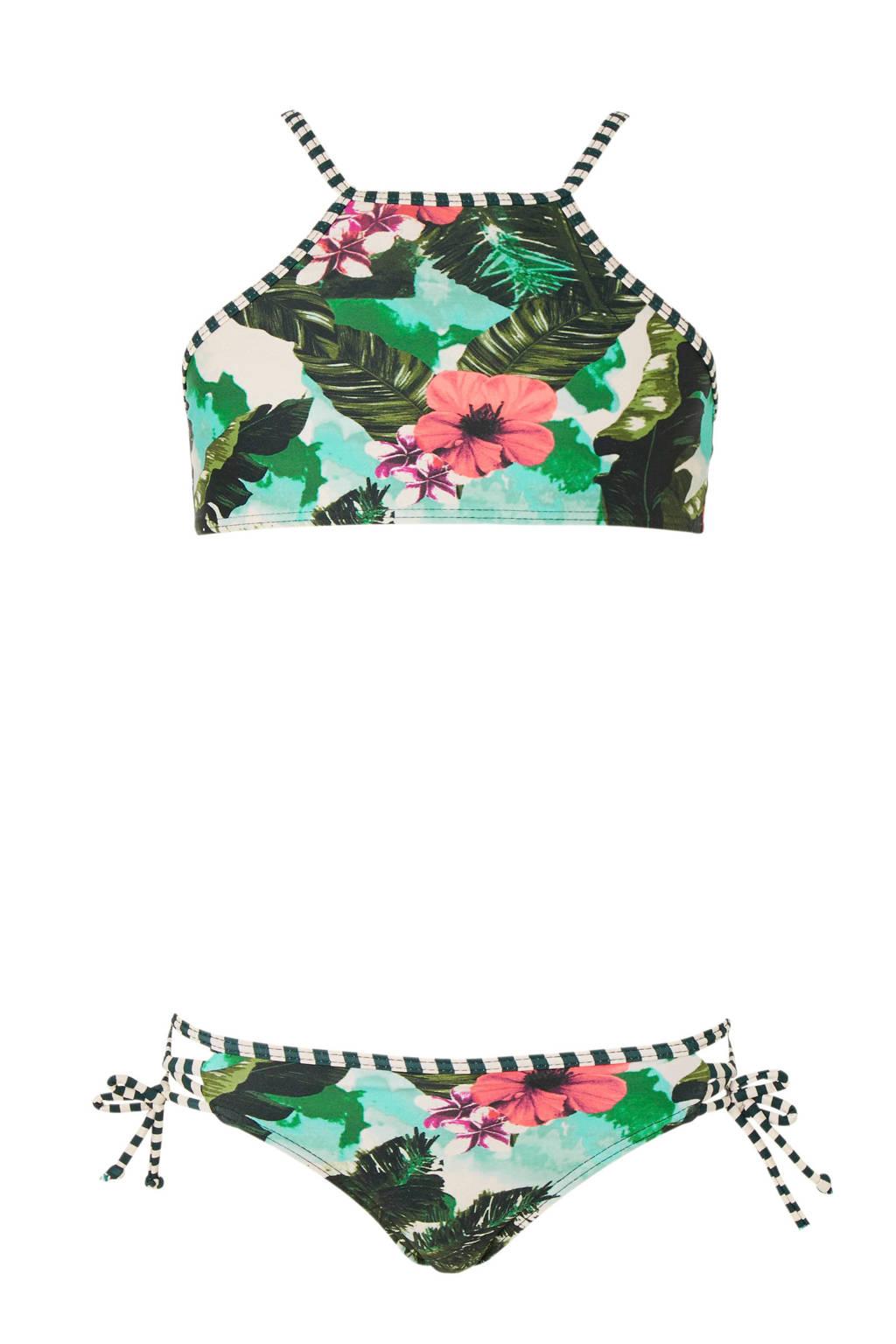 Shiwi bikini met all over print groen, Groen/wit/roze
