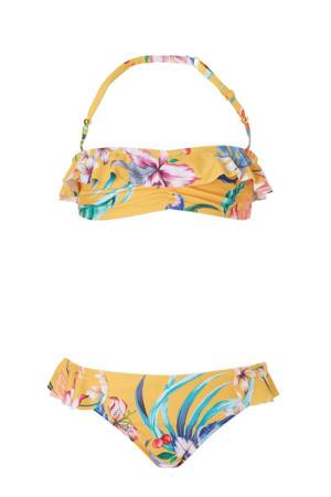 bandeau bikini met all over print geel