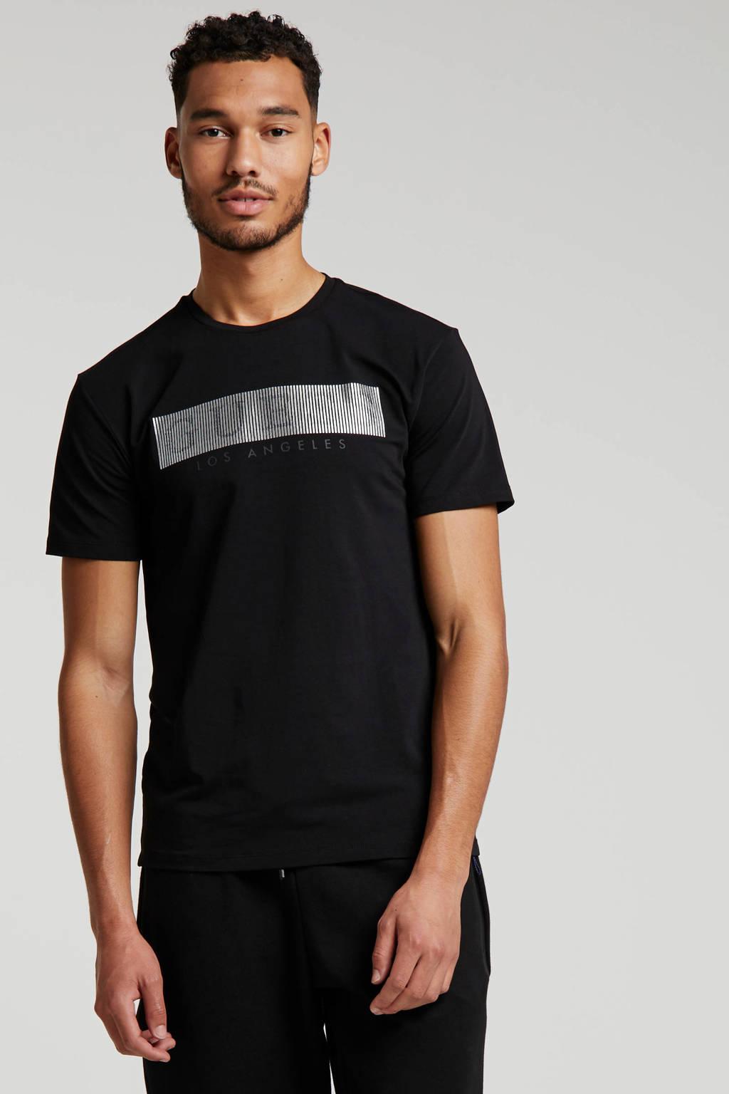 GUESS T-shirt met printopdruk zwart/zilver, Zwart/zilver