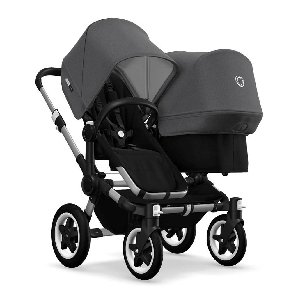 Bugaboo Donkey² Twin kinderwagen aluminium/gemêleerd grijs, zwart-grijs