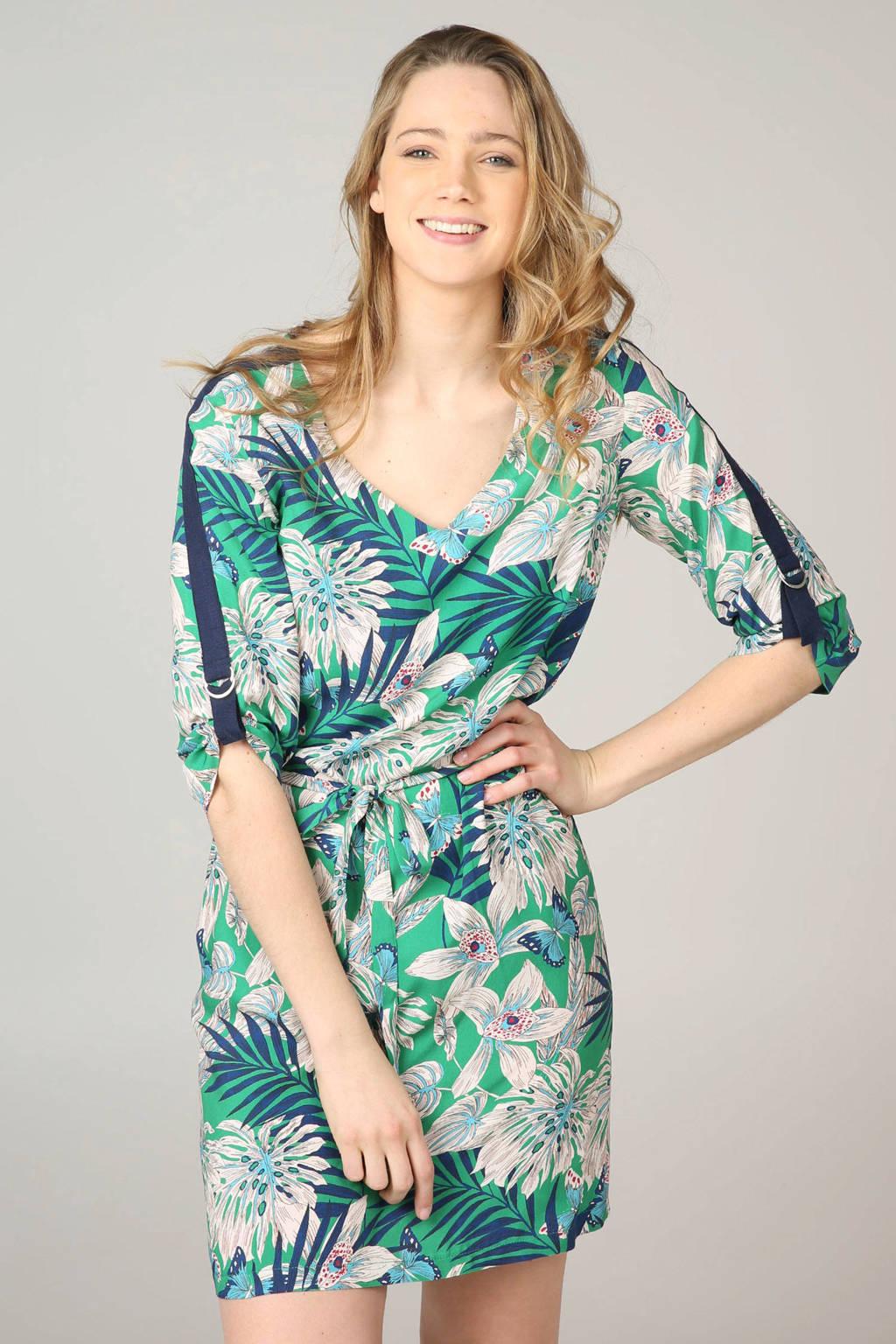 Cassis gebloemde jurk, Groen/wit