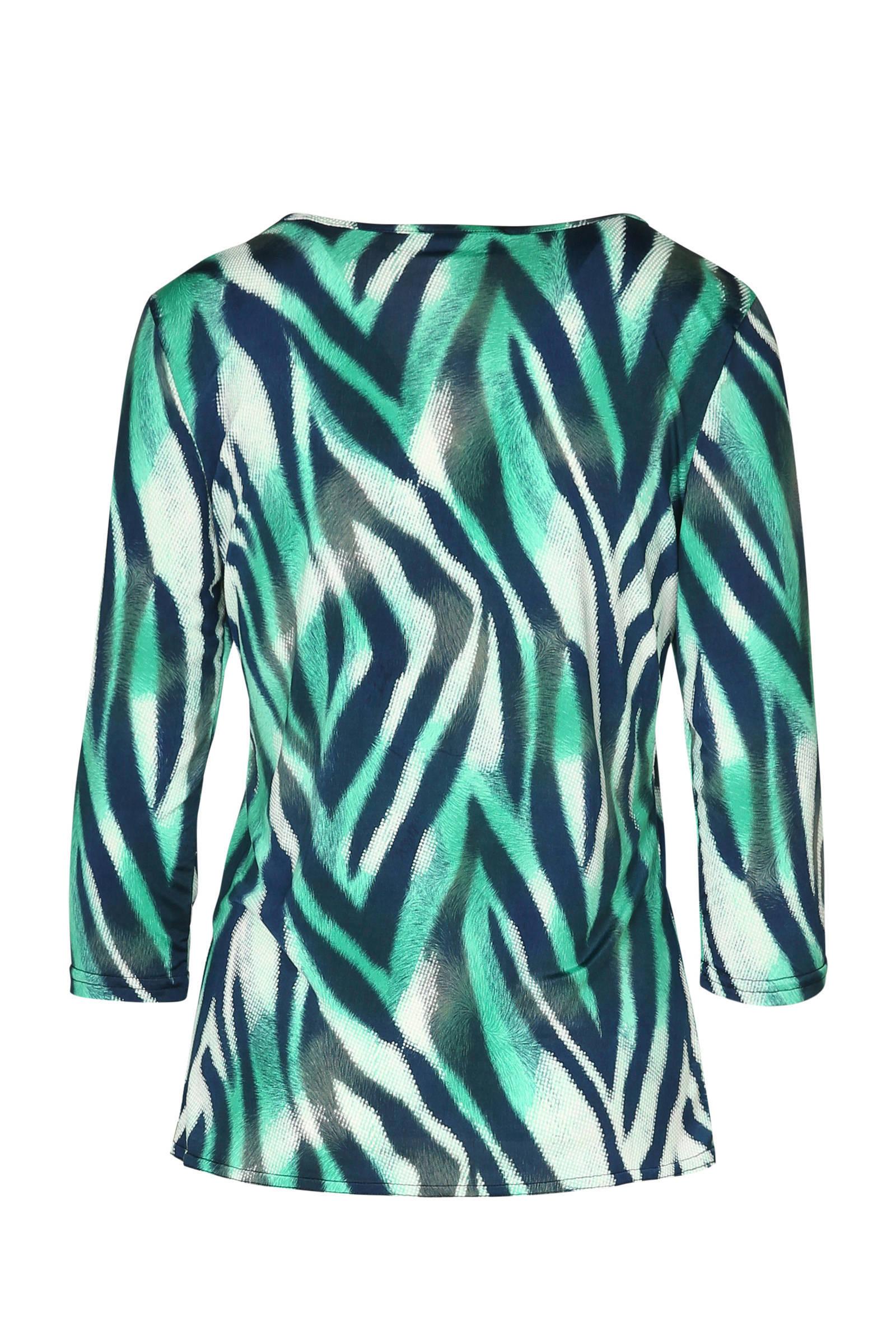 met blouse blouse Cassis zebraprint met groen Cassis zebraprint XqnS6
