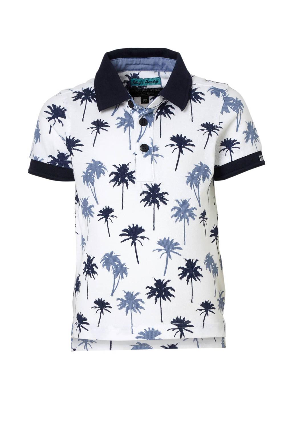 C&A Palomino polo met palmbomen wit, Wit/blauw