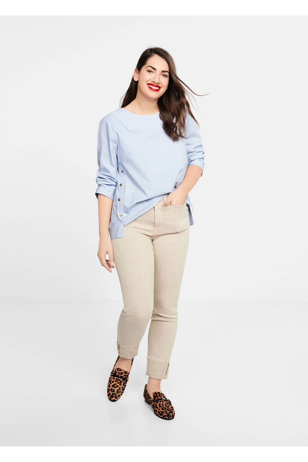 Violeta by Mango blouse met knopen, pastelblauw