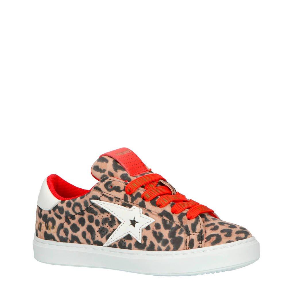 Vingino  Mayke sneakers met panterprint, Bruin/rood