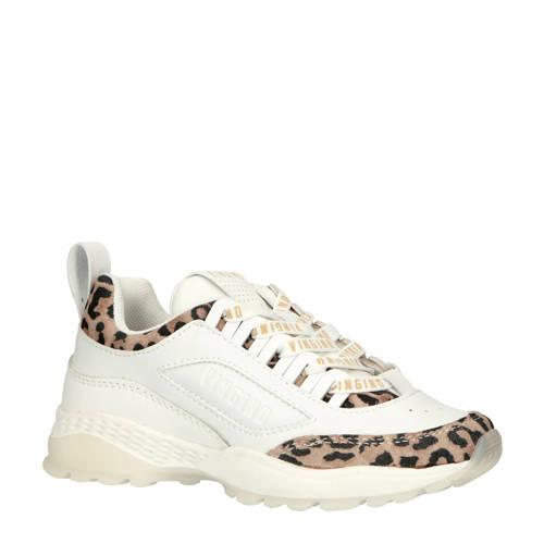 Vingino Fenna leren sneakers wit met panterprint kopen