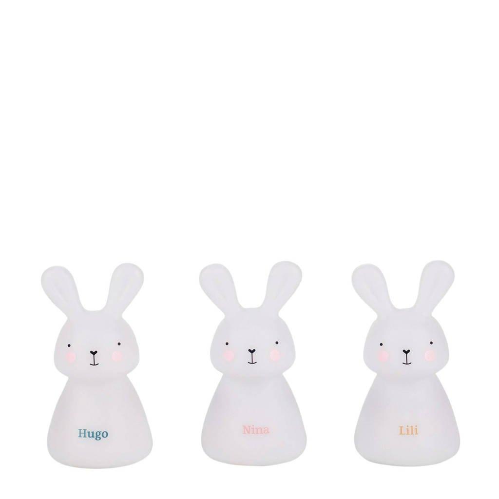 Olala lichtpad van 3 LED-nachtlampjes konijntjes, Wit