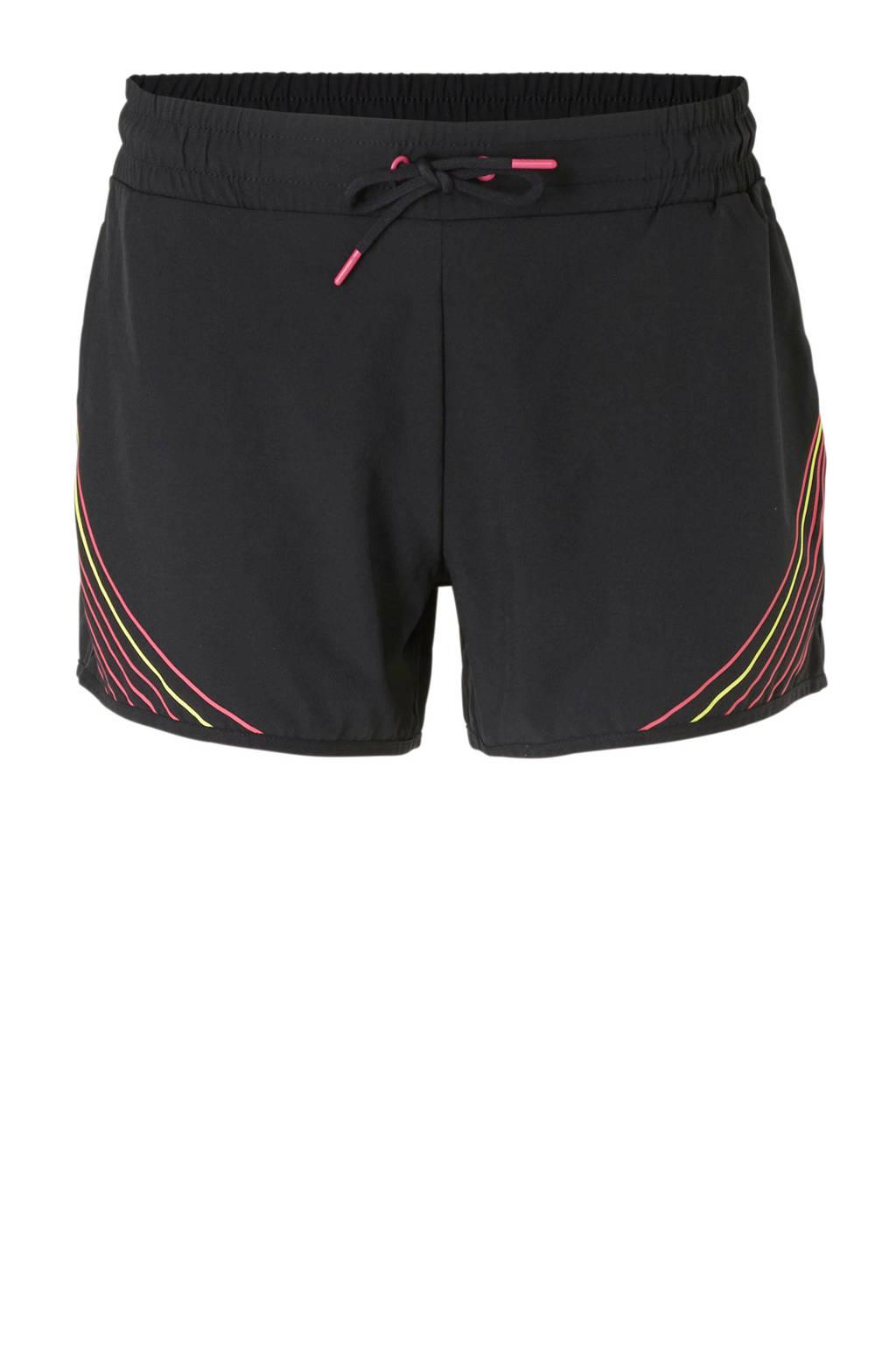 ESPRIT Women Sports sportshort zwart/roze/geel, Zwart/roze/geel