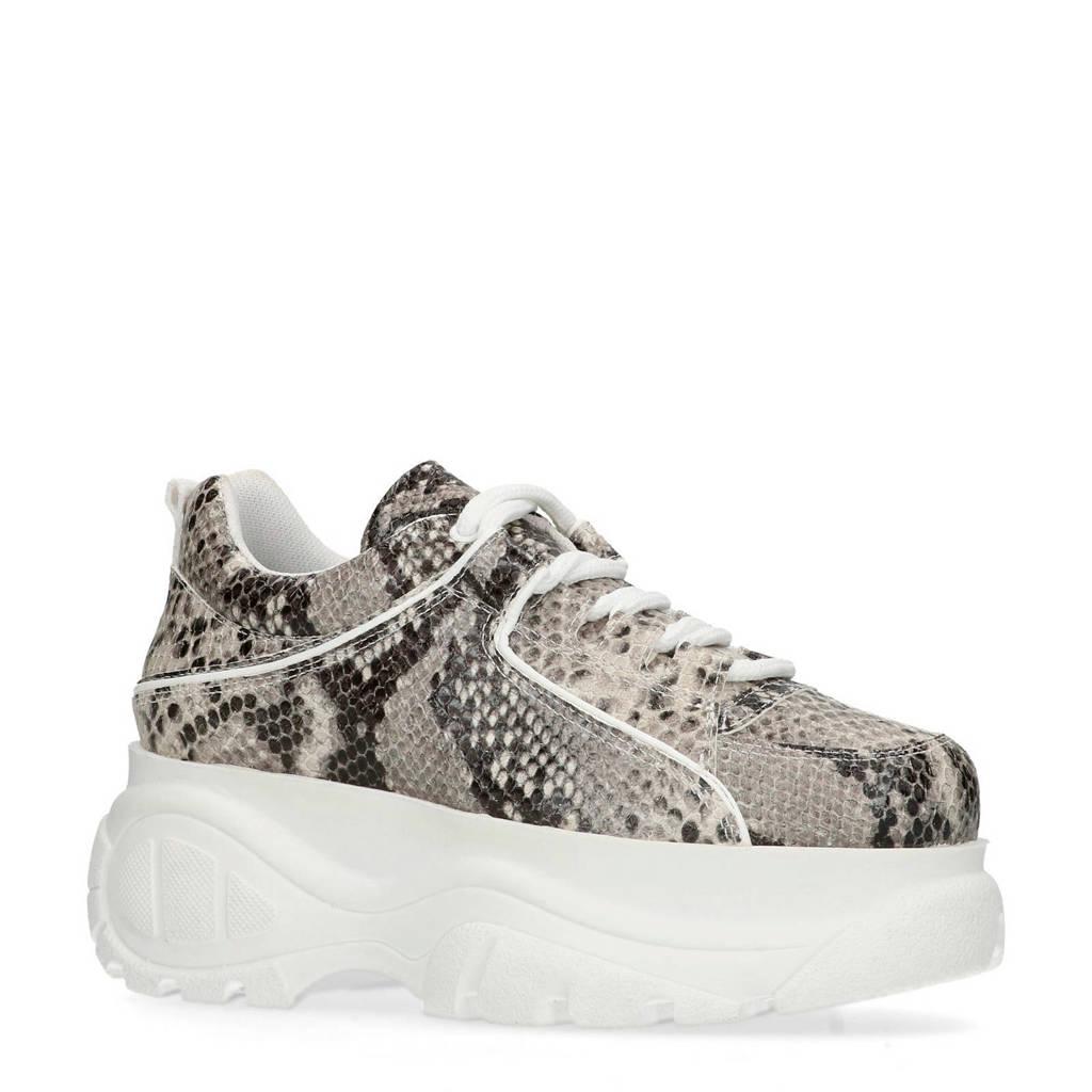 60e788ef56e Sacha plateau sneakers met slangenprint, Grijs/zwart