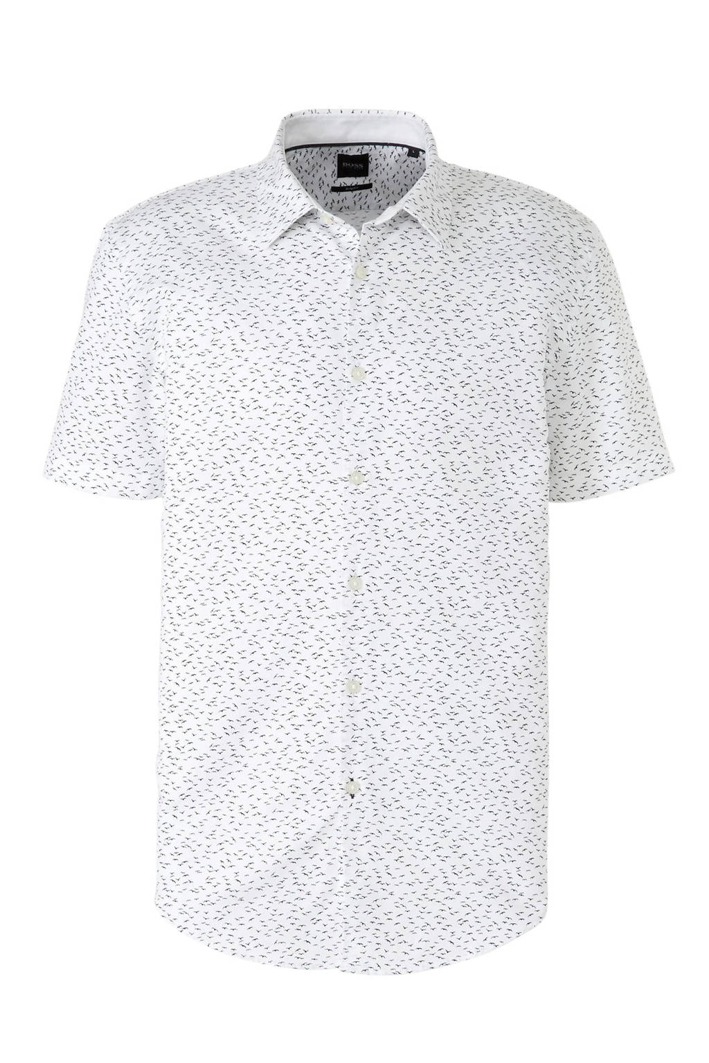 BOSS Menswear slim fit overhemd met all over print wit/zwart, Wit/zwart