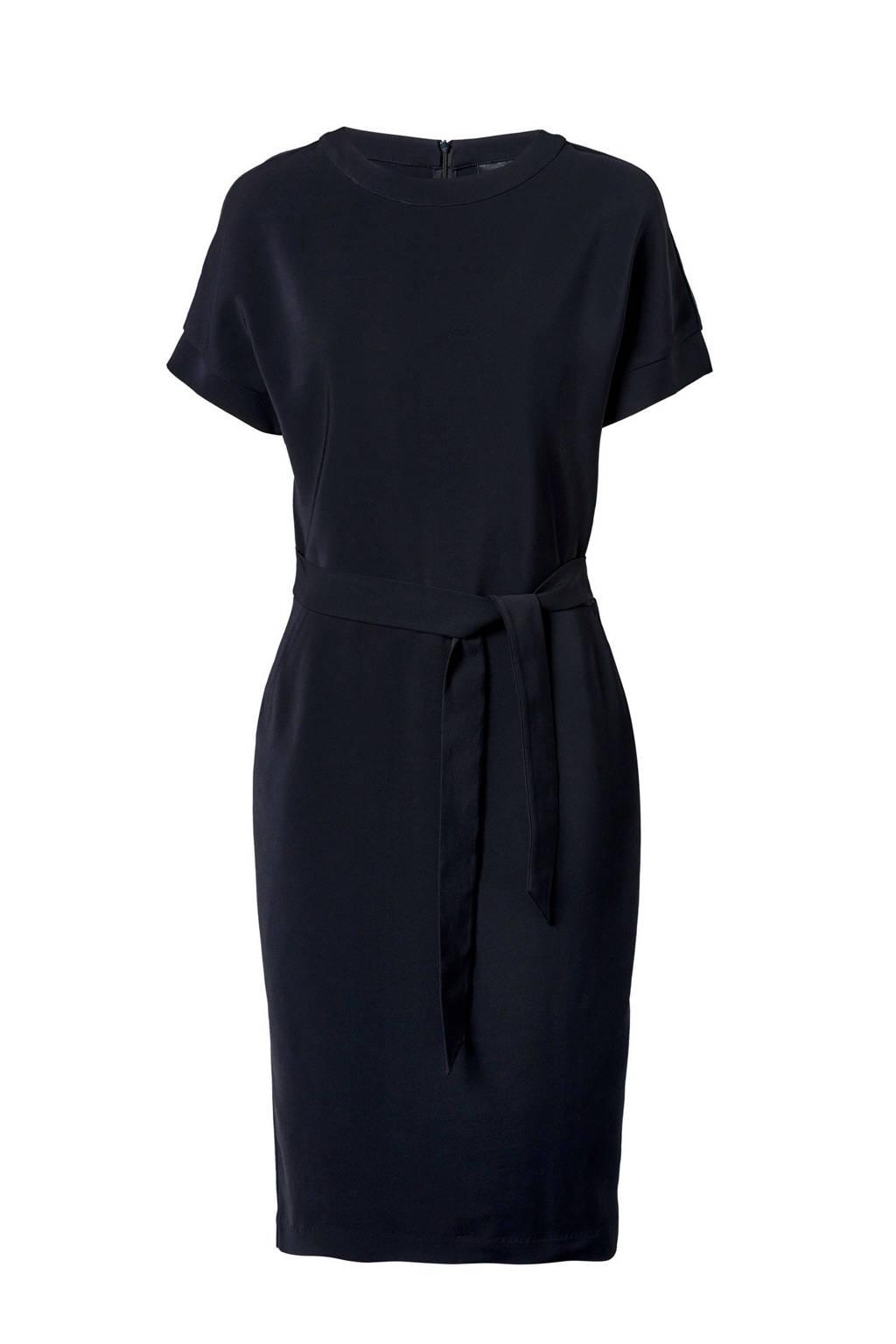 Mart Visser jurk met linnen zwart, Zwart