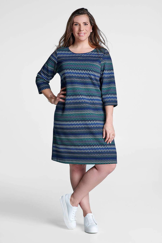 Miss Etam Plus A-lijn jurk met grafische print blauw, Blauw