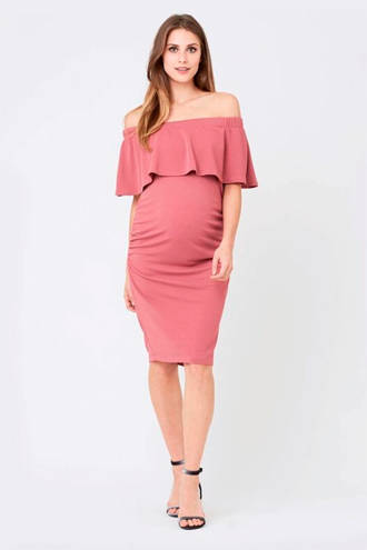 off shoulder zwangerschapsjurk Soiree met volant roze