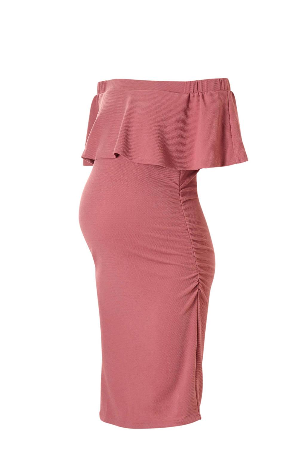 Ripe off shoulder zwangerschapsjurk Soiree met volant roze, Roze