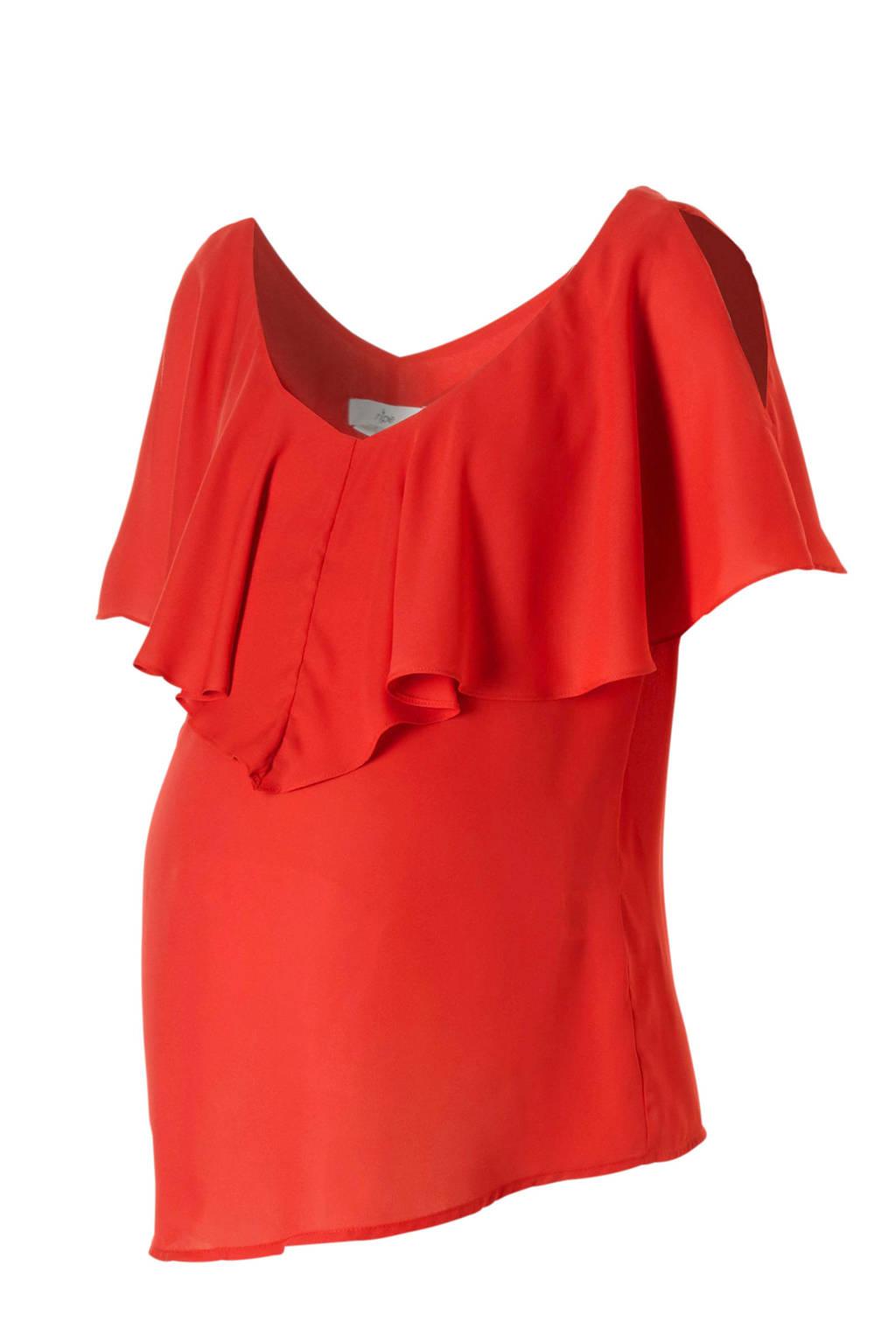 Ripe open shoulder zwangerschap + voedingstop rood, Rood