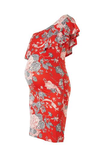 asymmetrische zwangerschapsjurk Lola met bloemen rood