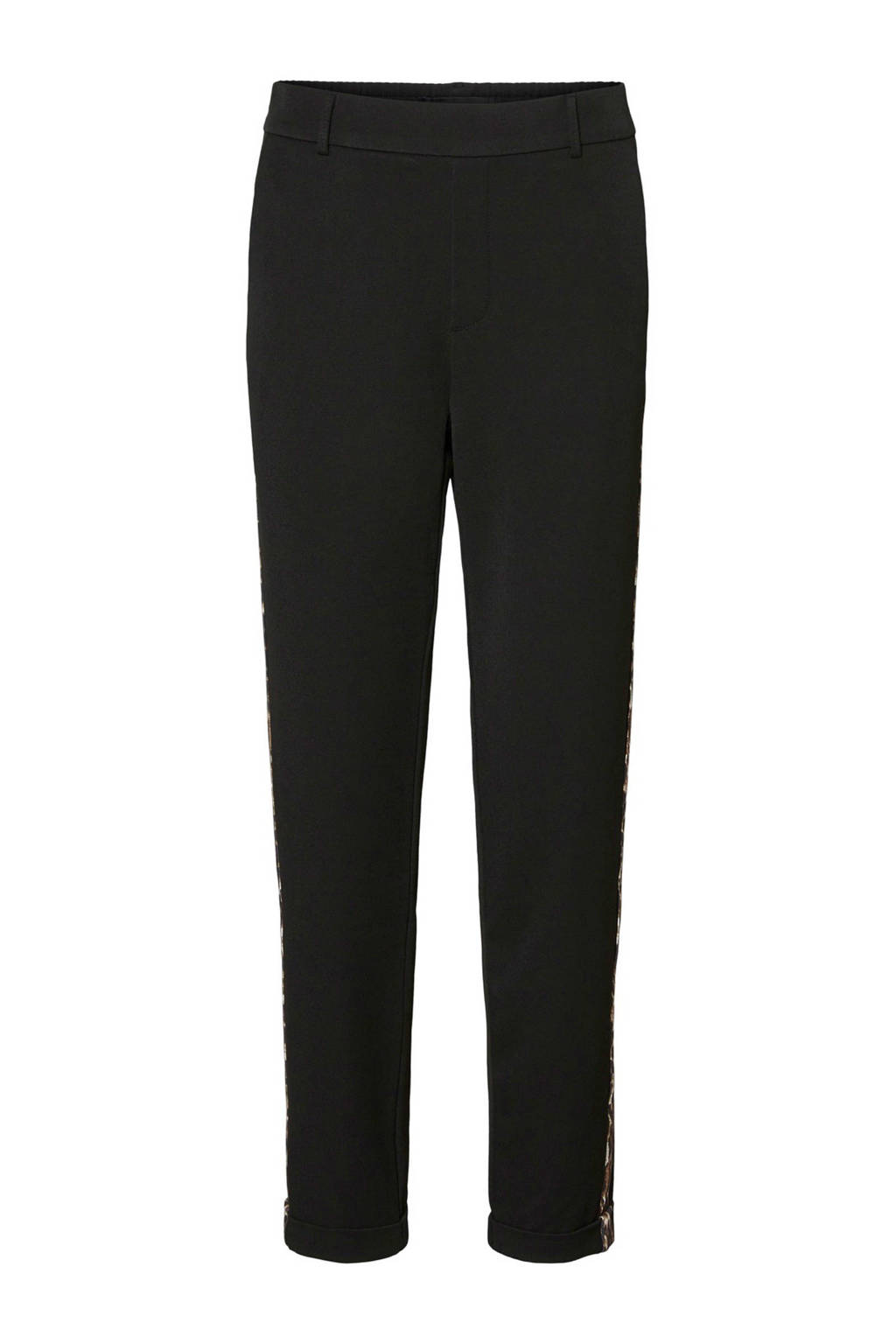 VERO MODA broek met panterprint zijstreep, Zwart/bruin