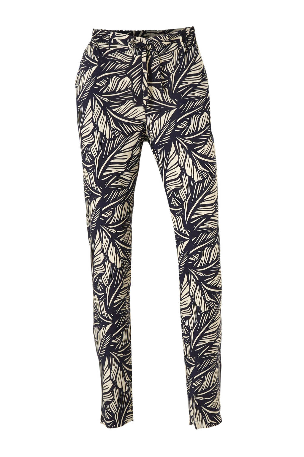 VERO MODA regular fit broek met bladprint donkerblauw/beige, Donkerblauw/Beige